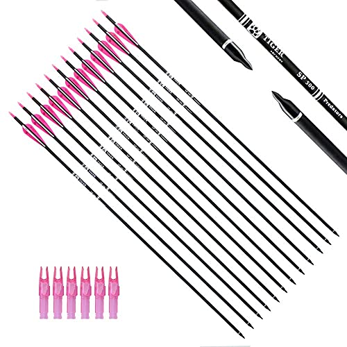TIGER ARCHERY 30Inch Carbon Arrow Practice Hunting Arrows with Removable Tips for Compound & Recurve Bow(Pack of 12) (Pink White)