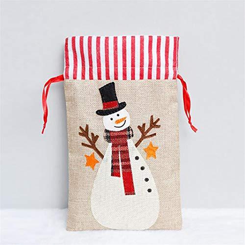 ZHDXW Weihnachtsgeschenkbeutel Verpackungsbeutel Goody Bags Vlies Candy Sweet Bag mit Bandbändern für Frohe Weihnachten,Schneemann