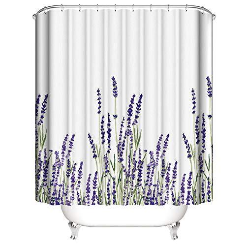 3D Digitaldruck Duschvorhang, Morbuy Top Qualität Schimmelresistenter & Wasserabweisend Shower Curtain Waschbar Mit 12 Duschvorhangringen 100prozent Polyester (150x180cm,Lavendel)