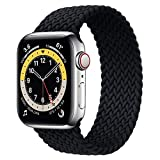 WAAILU Solo Loop Braided Band Woven Compatible for Apple Watch SE Series 6 40mm 44mm Compatible for Iwatch 5/4/3/2/1 38mm 42mm-(Black-38/40-2)