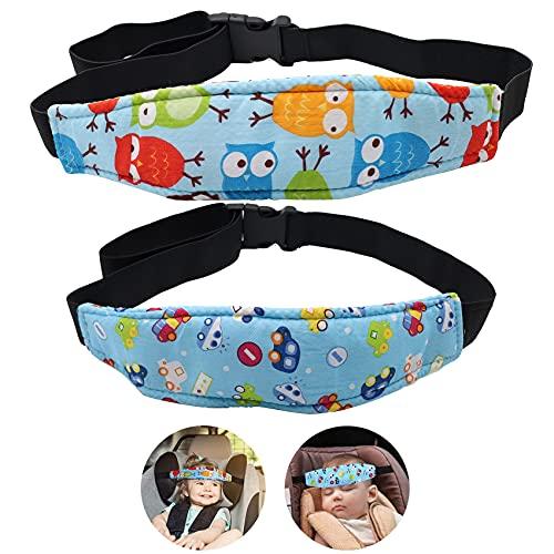 Abnaok 2pcs Einstellbare Kindersitz Befestigung Kopfband, Autositz Kopfstütze Kinderwagen Kinderwagen Kindersitz Befestigung Riemen Kopf Halter (Blau)