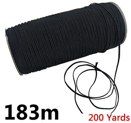 Gummiband 5mm 3mm 183Meter Schnur Elastizität für Stricknäharbeiten DIY, für Tagesdecke, Manschette, Kleidung Schwarz, 3mm