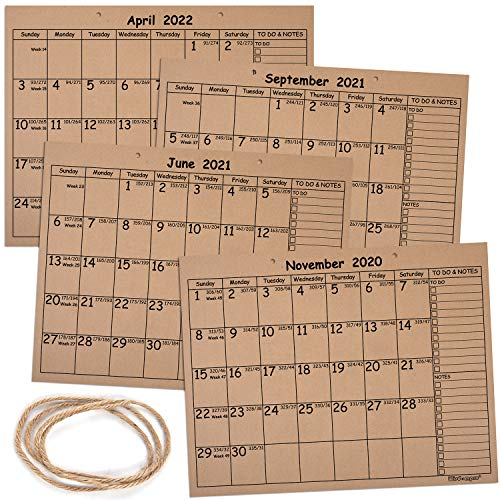 Kraft Desk Calendar 2020-2022, Wisdompro Monthly and Weekly Rustic Julian Wall Calendar Planner 18 Months (Nov. 2020 - Apr. 2022) with Planning Blotter Pad - (11.2 x 14.3 Inches)