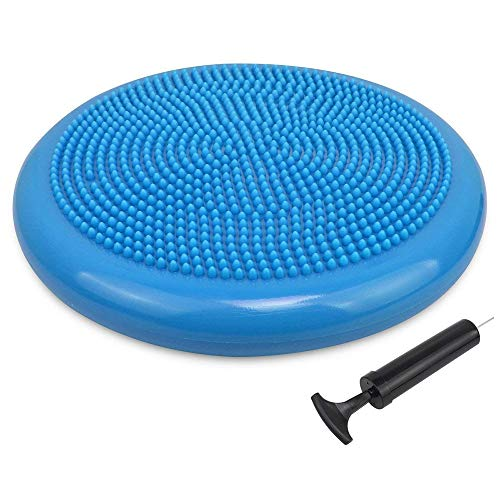 Extra Thick Core Balance Disc,Inflated Stability Wobble Cushion with Pump, Flexible Seating Classroom, Wiggle Seat for Sensory Kids (Office & Home & School),Blue