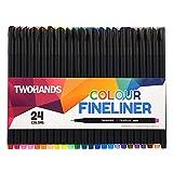24 Fineliner Stifte, Bullet Journal Stifte Set, Filzstifte mit 0,4mm Spitze, Farbnummern zum Ausmalen, Zeichnen und Detaillieren, 902201