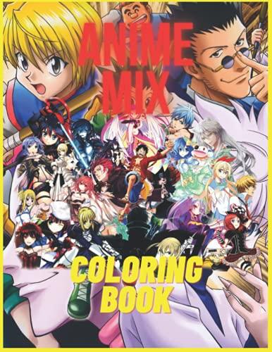Libro da colorare Anime Mix:: Naruto , Dragon Ball , One Piece , My Hero Academia And More.