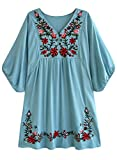 Doballa - Vestido de estilo bohemio, mini blusa, túnica de estilo mejicano, con bordado floral para mujer Azul azul claro XL