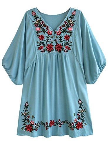 Doballa Damen Boho Tunika Hippie Kleid Gestickt Blumen Mexikanische Bluse, Hellblau, M
