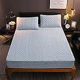 FJMLAY Sábanas Ajustables de Cama de algodón Cepillado, Almohadillas de protección Antideslizantes para Apartamentos de Dormitorio-Blue_3_150cmx190cm
