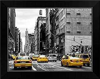 CANVAS ON DEMAND New York City - Taxis Traffic Black Framed Art Print, 19