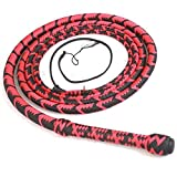 Ardour Crafts 04 to 16 Feet Long Nylon para-Cord Bullwhip 16 Plaits Paracord Custom Bull Whip with Leather Belly & Bolster Construction Red & Black (08 FEET)