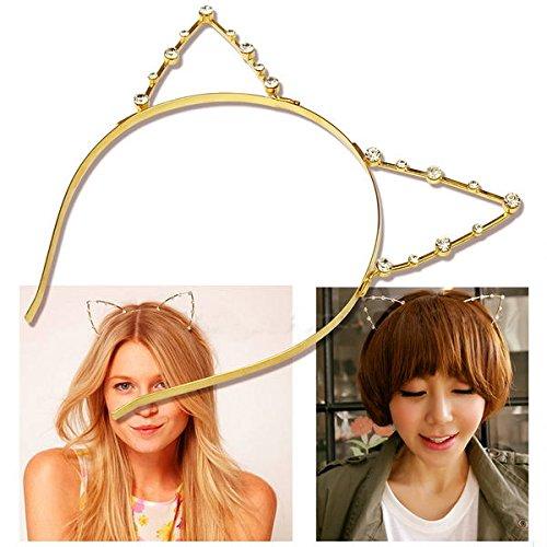 Hip Mall Sweet Fashion Crystal Rhinestone Metal Headwear Punk Hair Wrap Cat Ear Headband Party (Gold)