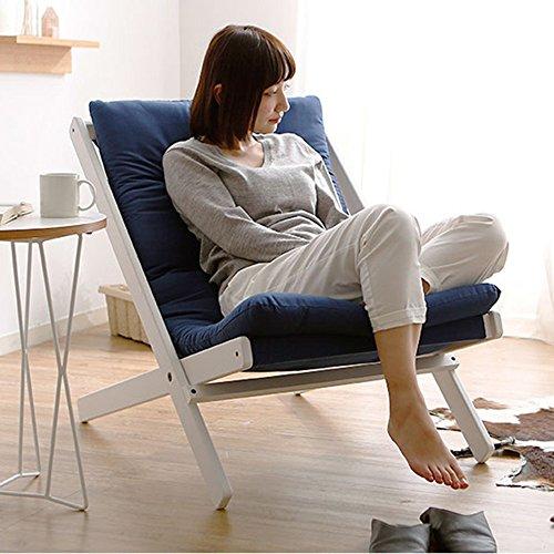QFFL Fauteuil Pliant Simple en Bois Massif/Chaise de Dossier Siesta de Bureau/Chaise Longue de Salon/Inclinaison créative de Balcon Tabouret d'extérieur (Couleur : B)