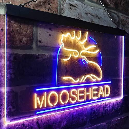 zusme Moosehead Beer Man Keller, LED, Neon-Motiv, Blau + Gelb, W40 x H30 cm