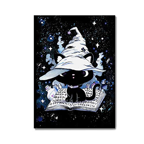 Katzen Postkarte Geburtstagskarte mit kawaii Katze Metal Gothic Rock schwarz Grußkarte Witchcraft