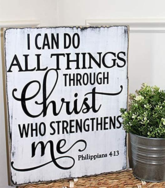 Bawansign I Can Do All Things Through Christ Who Strengthens Me Religious Rustic Bible Verse Sign Philippians 4 13 Wooden Sign Funny Wall Art Decor Signs And Plaques