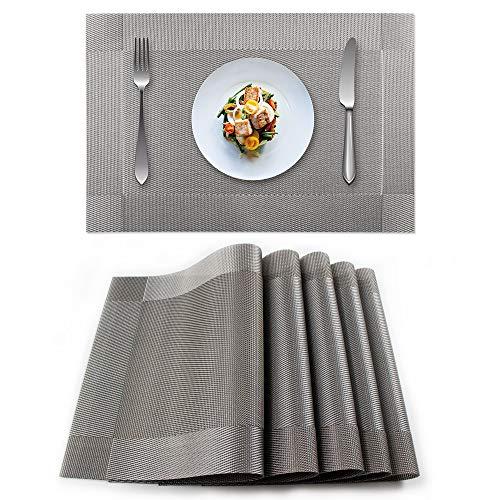 excovip Manteles Individuales Conjunto de 6 Piezas, 45×30cm, Borde Doble, fácil de Limpiar, Interiores/Exteriores, Tejido de