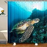 Loussiesd Cortina de baño de tortuga marina, cortina de ducha 3D, cortina de ducha de tela para niños, juego de cortinas impermeables de 172 x 200 cm