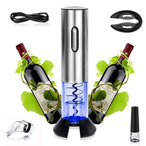 Aitsite Sacacorchos Electrico Abridor de Vino eléctrico con Cortador de Papel/Vertedor/Tapón de Vino Silicona de Vacío y Cable de Datos