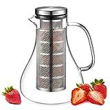 ecooe Glaskaraffe 1500ml Fruit Infuser Glaskrug aus Borosilikatglas Wasserkrug mit Edelstahl Deckel...