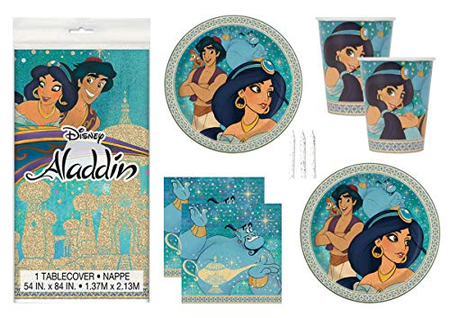 Aladdin Theme Birthday Party Supplies Set Serves 16 - Tablecover, Banner Decoration, Plates, Napkins, Cups and Candles - Jasmine and Aladdin