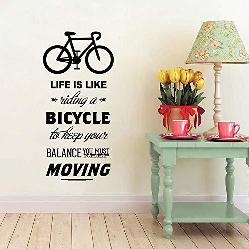 Ajcwhml La Vida es como Montar una Bicicleta Cita Bicicleta Deporte DIY Vinilo Arte Decoración de la Pared Pegatinas Fondos de Pantalla Decoración del hogar 34x72cm: Amazon.es: Hogar