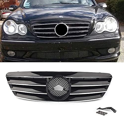 Coche Rejillas frontales de radiador para Mercedes Bens C-Klasse W203 C230 C240 C320 C32 C220 2000-2006 Ohne Emblem, Malla Radiator Grilles Reemplazo Car Styling Accessories