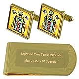 Route 66 Bomba de gasolina de tono Oro gemelos Money Clip grabado Set de regalo