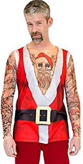 Men's Christmas Cosplay Clothing with Tattoo Long Sleeve Tank T-Shirt