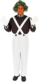fun shack Mens Oompa Loompa Costume Chocolate Factory Worker Suit with Wig - Medium