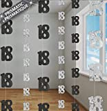 Shatchi 18th Black Hanging String Foil Banner Party Door Wall Decorations