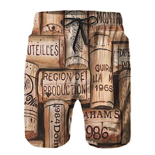 YANAIX Hombres Playa Bañador Shorts,Botella Copa de Vino Bar UVA Merlot Antiguo Restaurante Cabernet Botella de Vino Salpicaduras,Traje de baño con Forro de Malla de Secado rápido XL