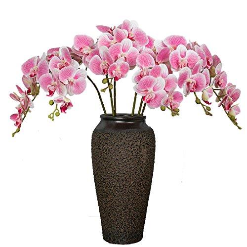 Calcifer - Ramo de orquídeas artificiales de látex (9 cabezas de flor / piezas), diseño de orquídeas artificiales, para decoración de bodas, fiestas y jardines