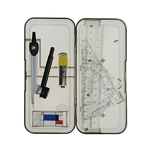 Zirkel Geometrie Set Mathematik Set Zeichnen Lineal Set ink. Schulzirkel, Druckbleistift, Radiergummi, Geodreieck, Lineal, Winkelmesser etc im Transparentbox (8-teiliges Set)