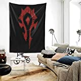 Tapestry - Wow Horde Distressed Logo Personalized Aesthetic Large Tapestry Wall Hanging For Living Room Bedroom 60 × 80 Inches