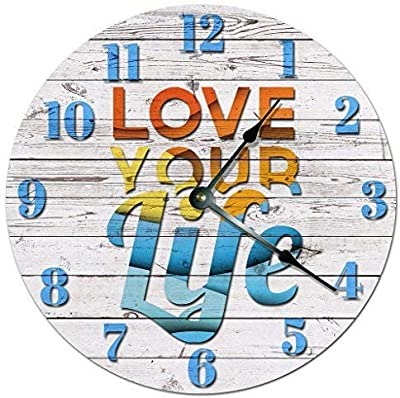 hiusan Modern Love Your Life Wood Boards Wood Wall Clocks Decorative Silent Non Ticking 12 inch Living Room Kids Rooms Bedrooms Gifts Idea
