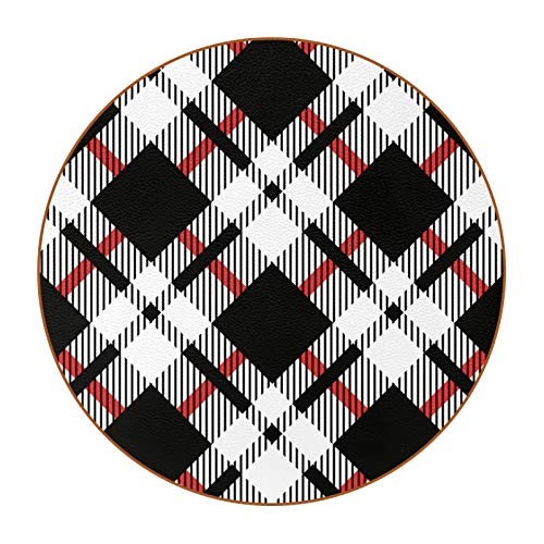 6 Piece Absorbent Drink Coasters, Coasters for Drinks, Round Leather Coaster Set, Heat-Resistant Reusable Coasters, Home Kitchen, Great Gift Black White Tartan Diagonal Seamless
