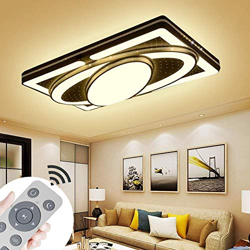 JINPIKER Deckenleuchte 90W Dimmbar +FB Raumschiff LED Panel Deckenlampe Wohnzimmer Schlafzimmer Energieeinsparung Innen-Beleuchtung (90W Dimmbar)