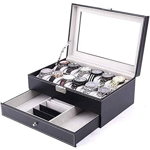 ZSCC Cajas organizadoras de joyería, caja de presentación de reloj, caja de reloj de alta gama Caja de joyería doble Pendientes de anillo Caja de gafas de sol Caja de almacenamiento de joyería para