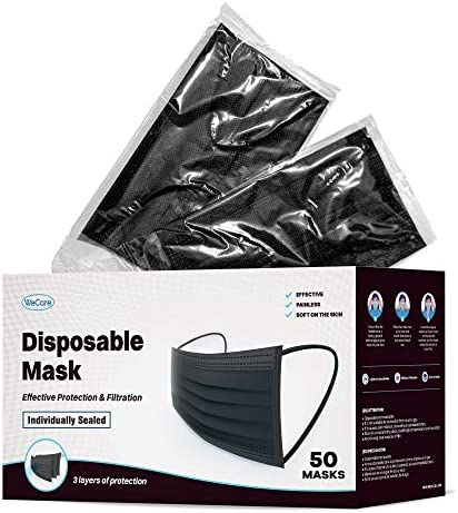 WeCare Individually Wrapped Disposable Face Masks 50 Pack Black Soft on Skin 3 Ply Protectors product image