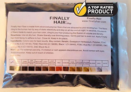 Hair Building Fibers Soft Black 25 Grams Refill Your Existing Bottle. Highest Grade Fiber by Finally Hair