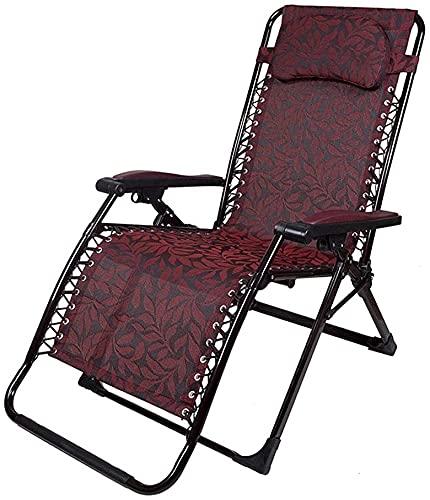 Slscyx 2021 Reclinador Plegable, Silla de Cubierta de Gravedad Cero Ajustable, sillón de salón portátil con reposacabezas móvil (Color : #2)