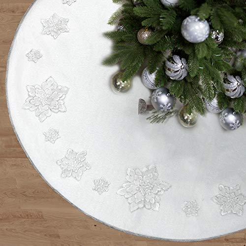 Skrantun 48 Inch Christmas Tree Skirt Christmas Decorations with 3D White Flowers Holidays Decor
