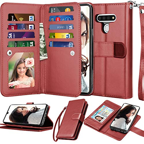 Njjex Compatible with LG Stylo 6 Case/LG K71/LG Stylus 6/LG Stylo 6 Wallet Case, [9 Card Slots] PU Leather ID Credit Holder Folio Flip [Detachable] Kickstand Magnetic Phone Cover & Lanyard [Wine Red]