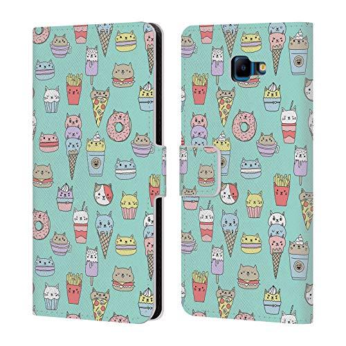 Officiële Andrea Lauren Design Kattenvoer Voedsel Patroon Lederen Book Portemonnee Cover Compatibel voor Samsung Galaxy J4 Core