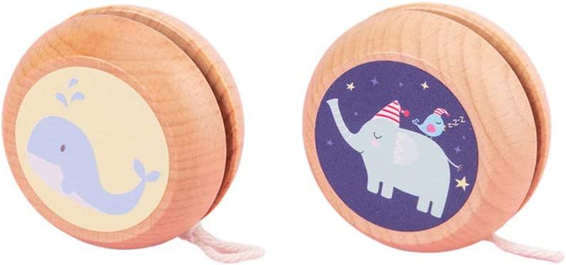 NUOBESTY 2Pcs Wooden Yoyo Toy Genuine Free Shipping Elephants Ou Cartoon Whale Pattern Challenge the lowest price