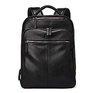 CLUCI Genuine Leather Backpack for Men Slim 15.6 Inch Laptop Large Capacity Business Travel Bag Black 11