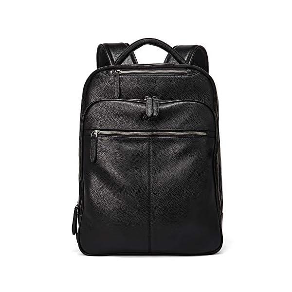CLUCI Genuine Leather Backpack for Men Slim 15.6 Inch Laptop Large Capacity Business Travel Bag Black 1