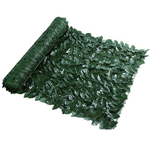 SHUYY Artificial Ivy Leaf Screening Wall Cover Garden Outdoor Hedging Fence 1 * 3m, Ivy Leaf Hedge Panels On Roll (Color : Dark green)
