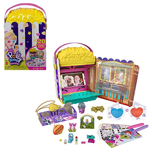 Polly Pocket GVC96 - Popcorn-Box Spielset mit kleine Polly & Lila Puppen, Popcorntüten-förmige Box, die zum Kino-Abenteuer wird, mehr als 15 Überraschungen, Geschenk für Kinder ab 4 Jahren